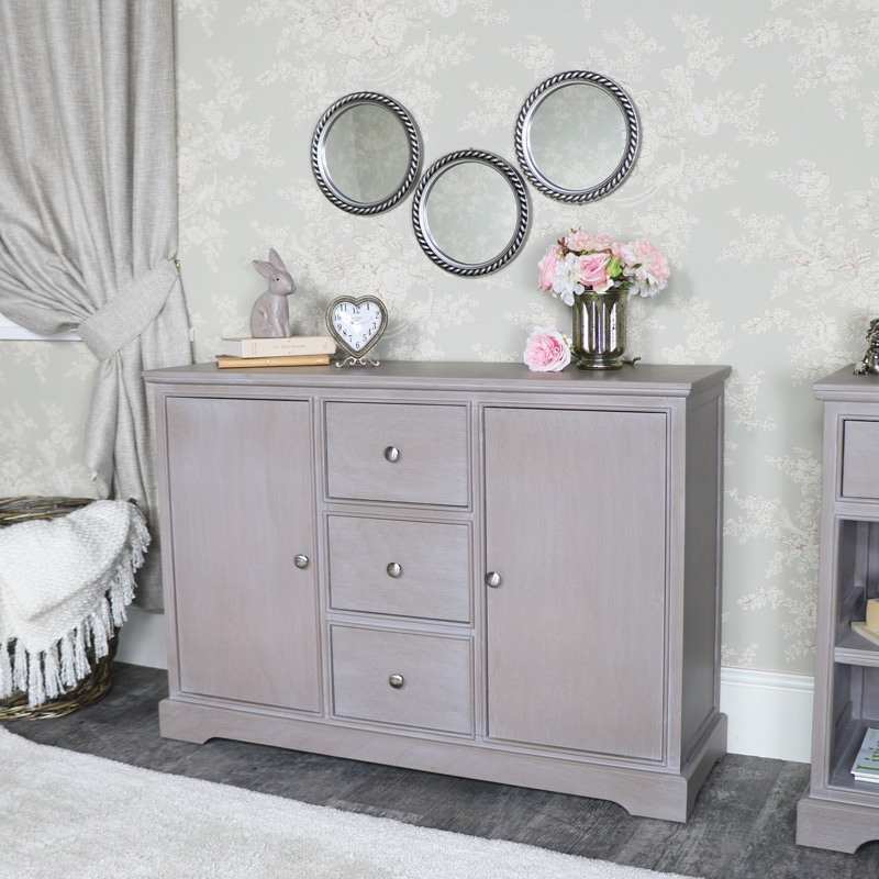 Large Taupe 3 Drawer 2 Door Sideboard - Cambridge Range