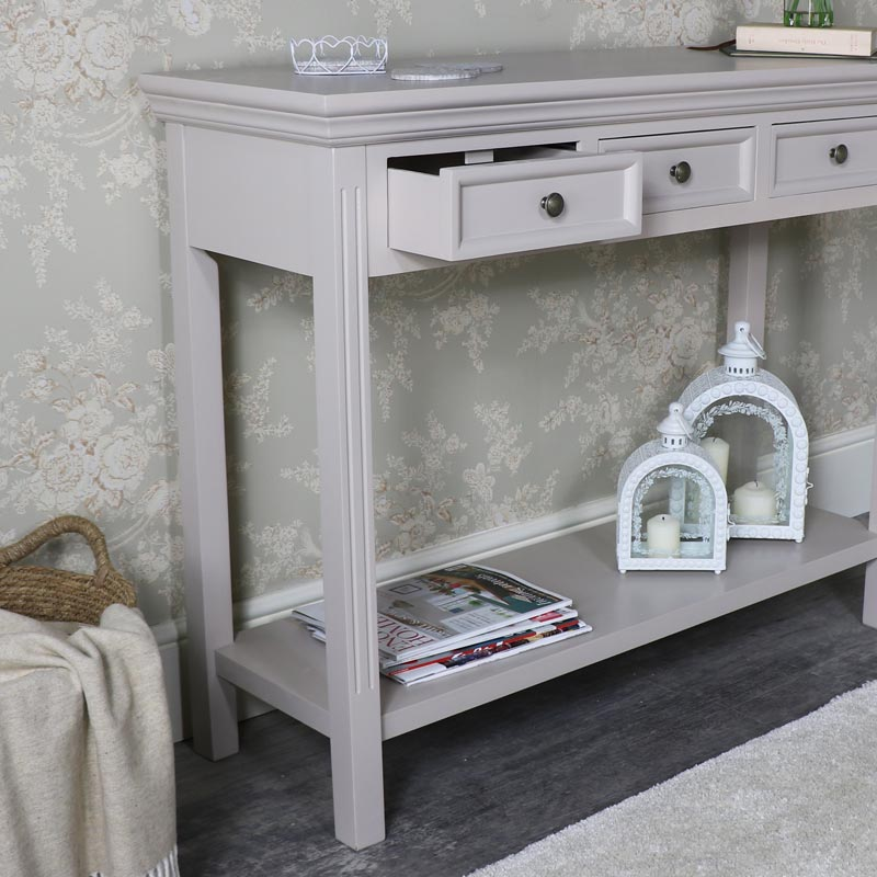 Large Grey Three Drawer Sideboard/Console Table with Shelf – Daventry Taupe-Grey Range
