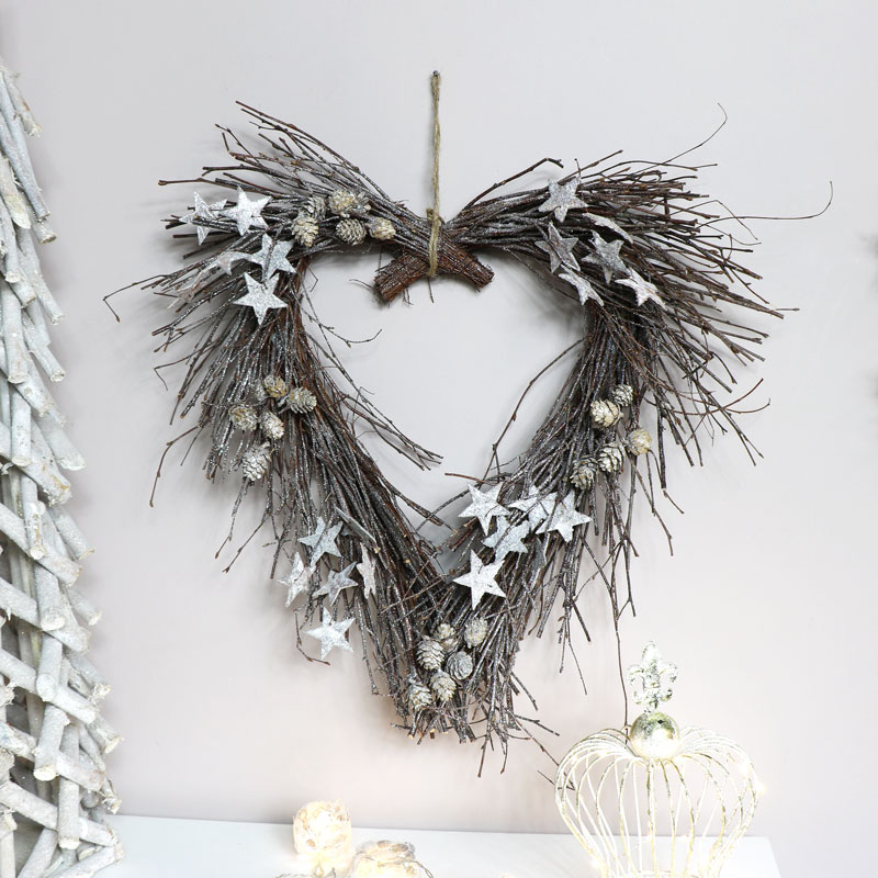 Large Twig Wall Heart with Stars & Pine Cones