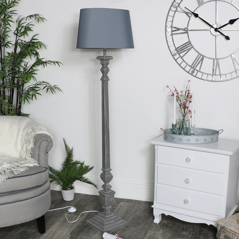 Large Vintage Floor Lamp - Grey