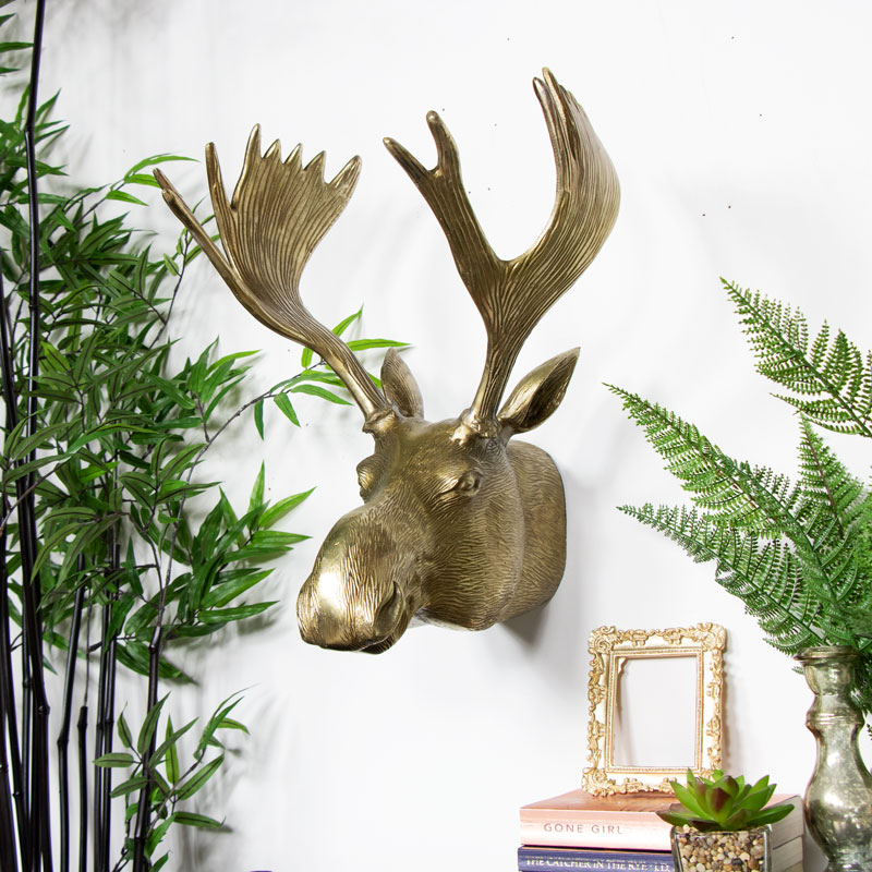 Large Vintage Gold Wall Mounted Moose Head