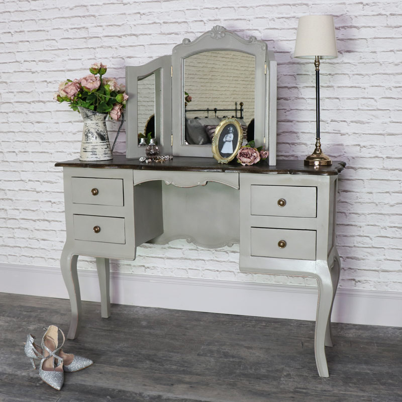 Large Vintage Grey Twin Pedestal Dressing Table And Mirror