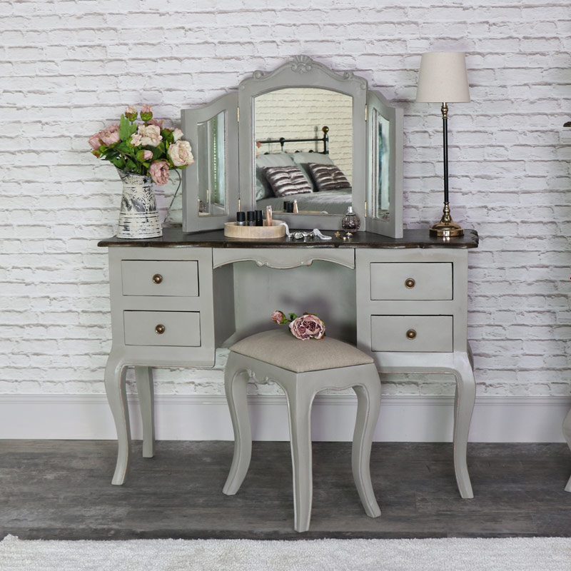 Large Vintage Grey Twin Pedestal Dressing Table, Mirror and Stool ...