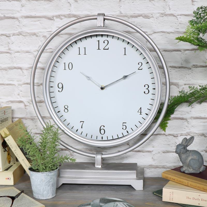 Large Vintage Round Silver Mantel Clock