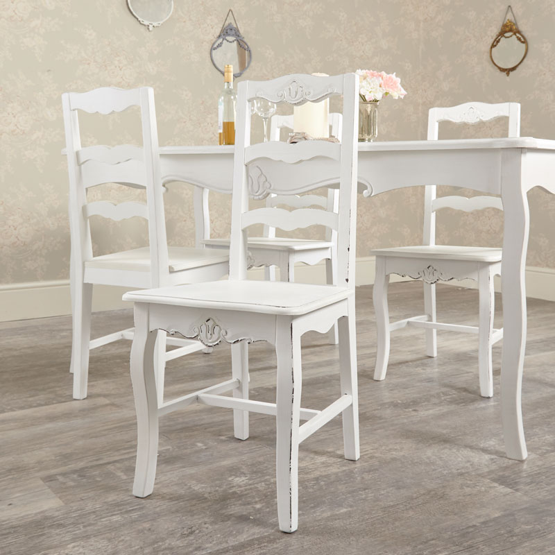 Large Vintage White Dining Table with 4 Chairs - Jolie Range
