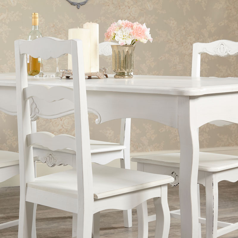 Swell Large Vintage White Dining Table With 4 Chairs Jolie Range Home Interior And Landscaping Ologienasavecom