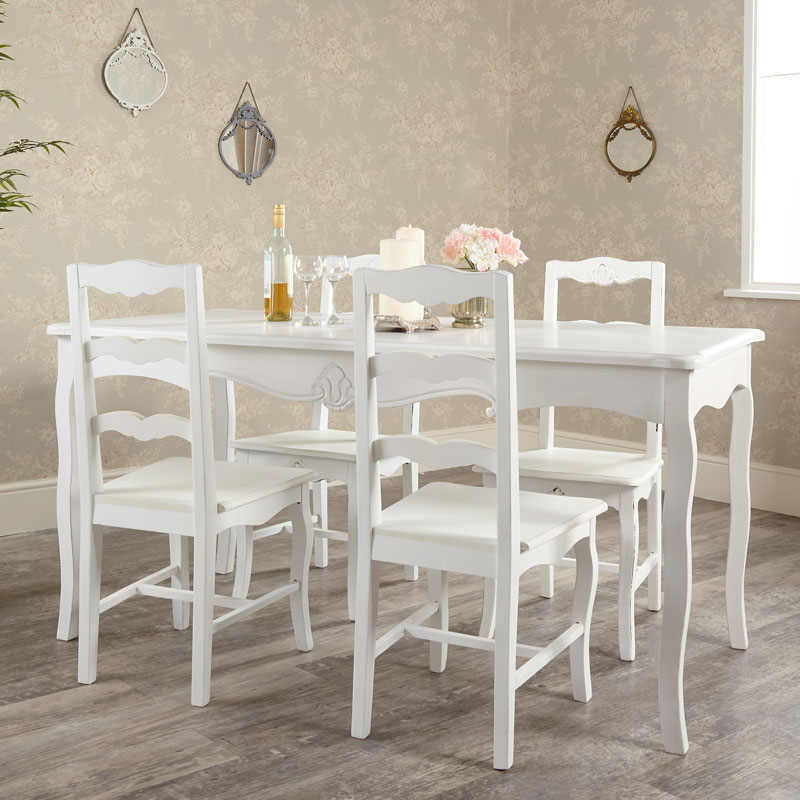 Marvelous Large Vintage White Dining Table With 4 Chairs Jolie Range Home Interior And Landscaping Ologienasavecom