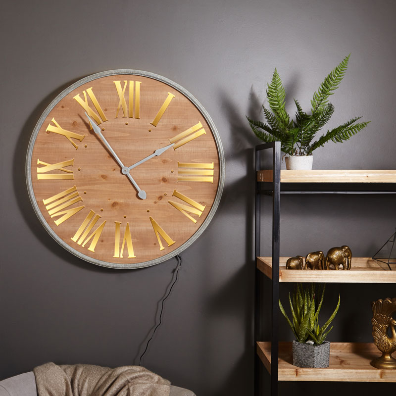 Large Wall Mounted Wooden Light Up Wall Clock Melody Maison 174
