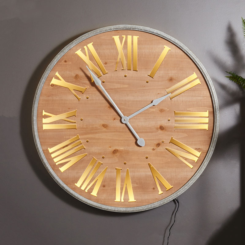 Large Wall Mounted Roman Numeral Wooden Light Up Wall Clock