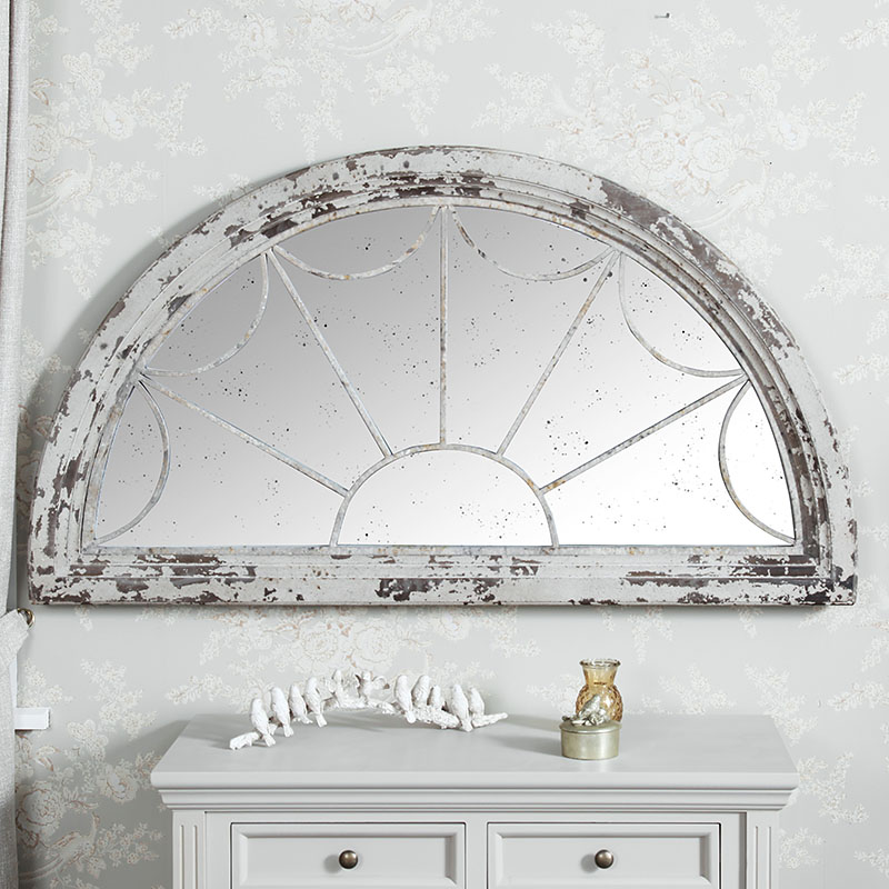 Large Wall Mounted Rustic Distressed Cream Fan Mirror