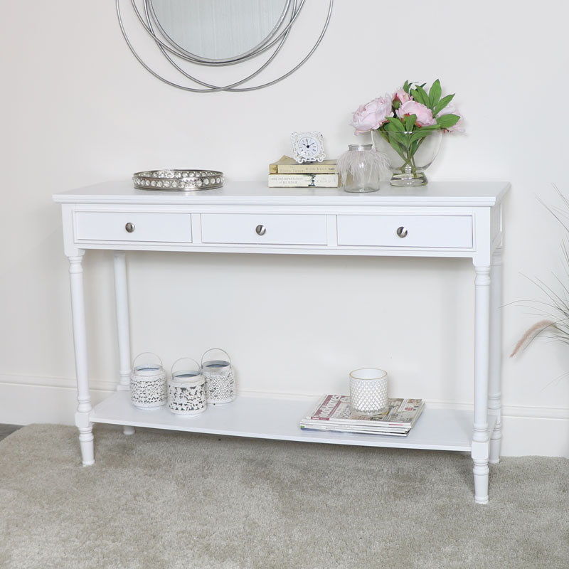 Large White 3 Drawer Console Table - Display Sofa Table