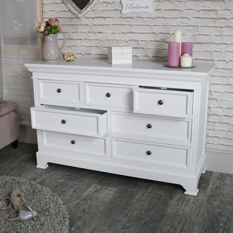 Large White 7 Drawer Chest of Drawers - Daventry White Range DAMAGED SECOND 1046