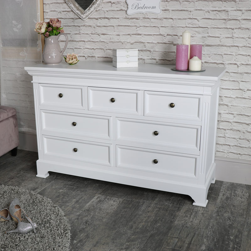 Large white 7 drawer chest of drawers daventry white range melody maison for White bedroom chest of drawers
