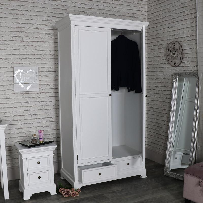 Large White Double Wardrobe - Daventry White Range