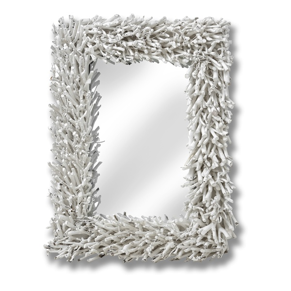Large White Driftwood Framed Wall Mirror