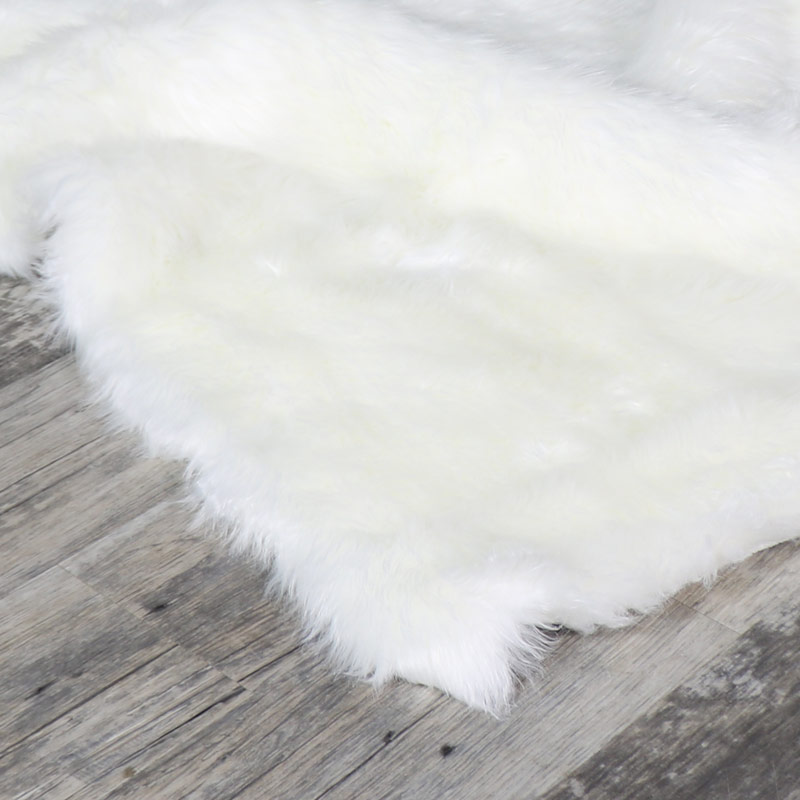 Large White Faux Fur Shaggy Rug 120cm X170cm