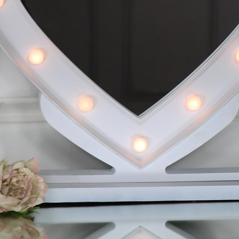large white heart led light up vanity mirror melody maison