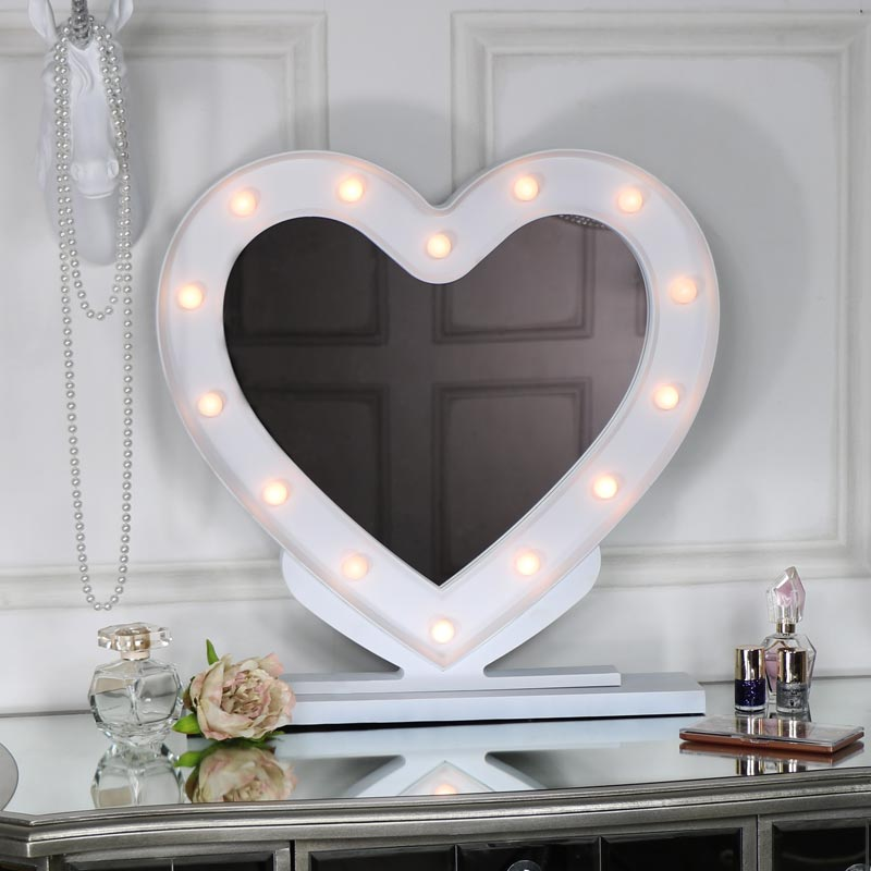 Large White Heart Led Light Up Vanity Mirror Melody Maison 174