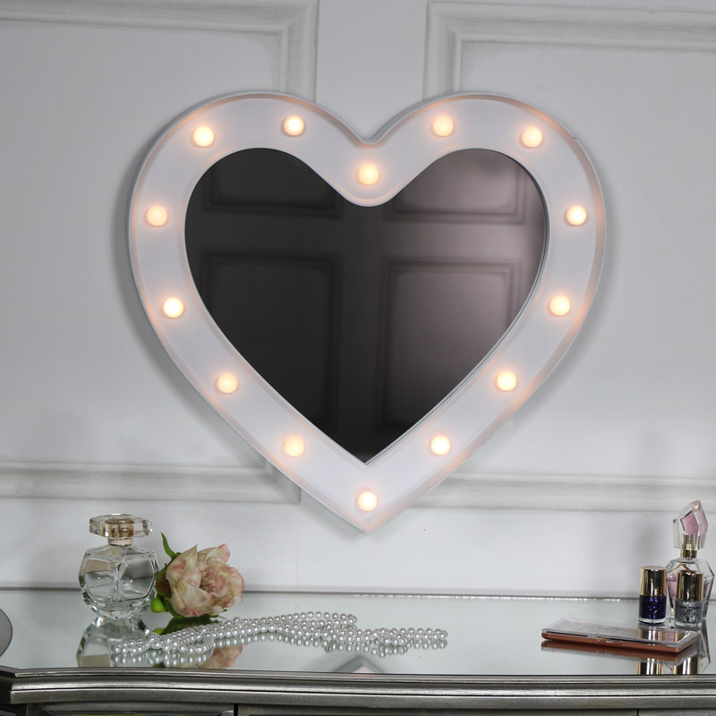 Large White Heart Led Light Up Wall Mirror Melody Maison 174
