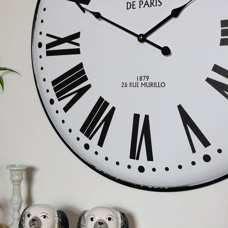 Large White Metal Wall Clock