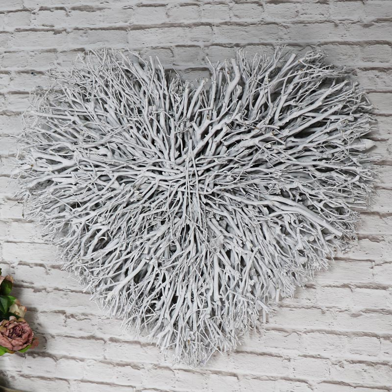 Large White Twig Heart Wall Art ...