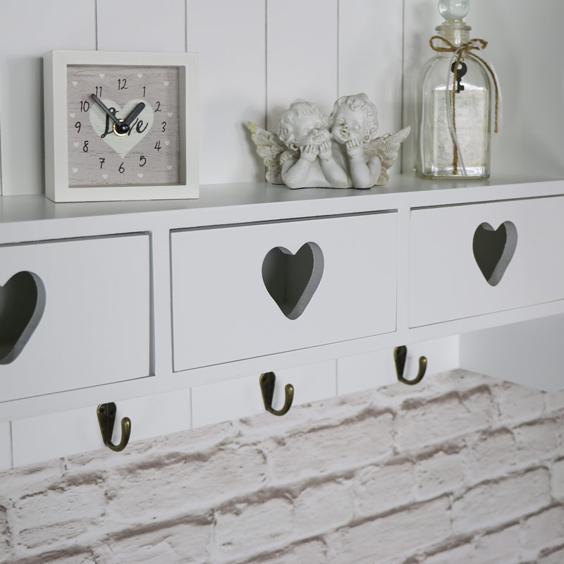 large white wall shelf with drawer storage melody maison. Black Bedroom Furniture Sets. Home Design Ideas