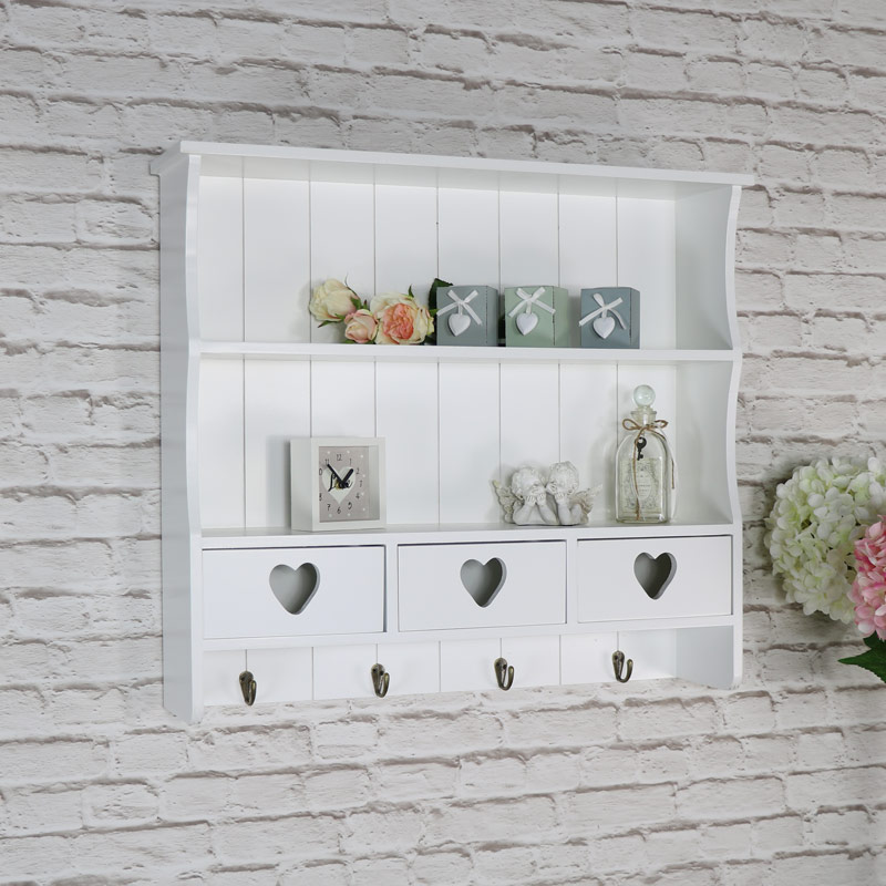 Large White Wall Shelf with Heart Drawer Storage DAMAGED SECONDS ITEM 3037