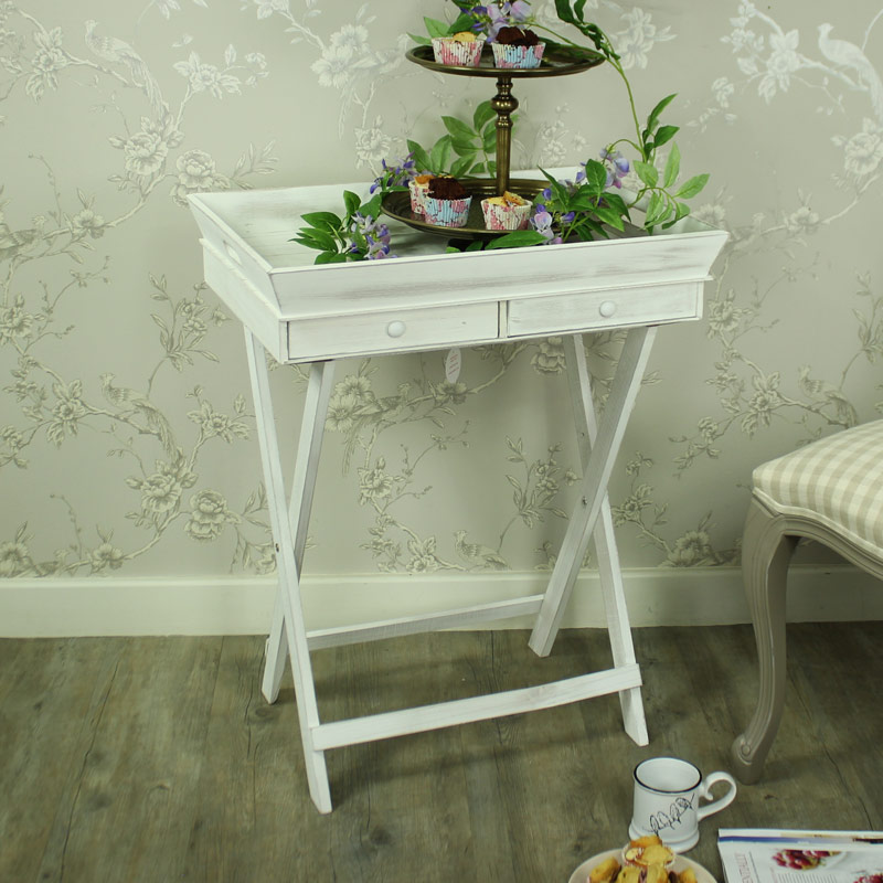 Large White Wooden Butler's Tray with Drawer Storage