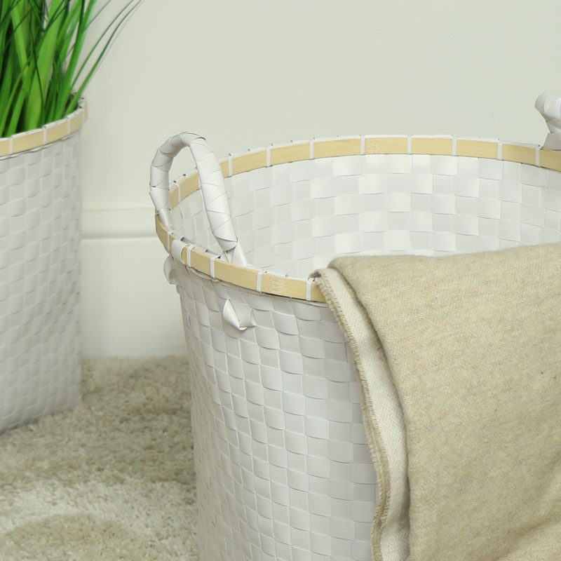 White Woven Laundry Storage Basket