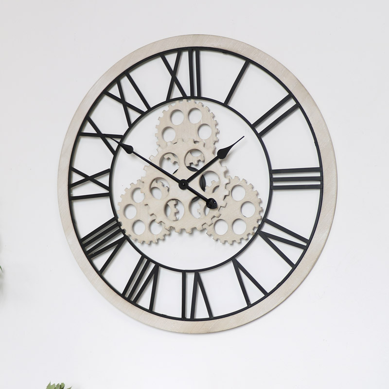 Large Wood Metal Gear Skeleton Wall Clock