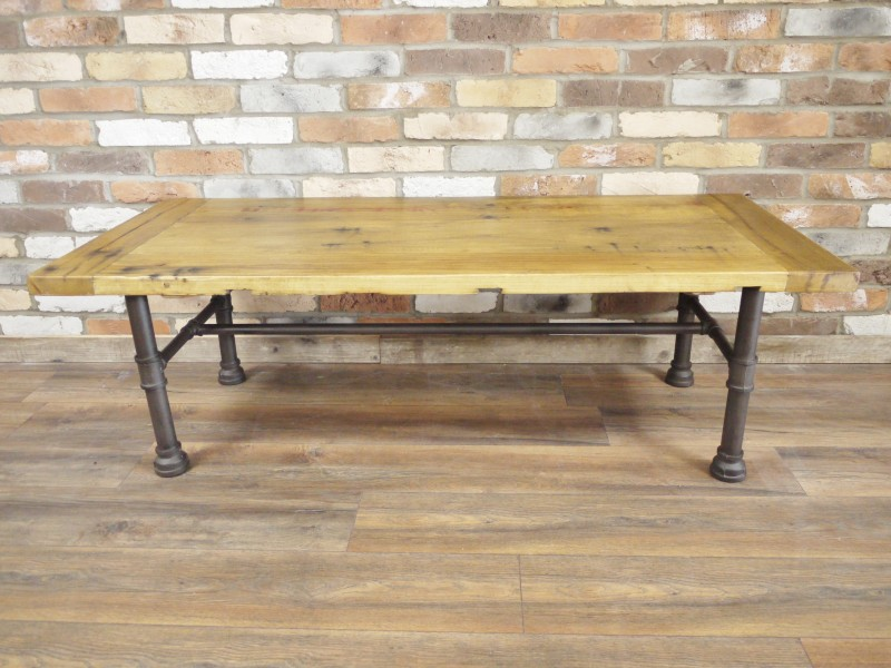 Large Wooden Industrial Style Coffee Table Melody Maison