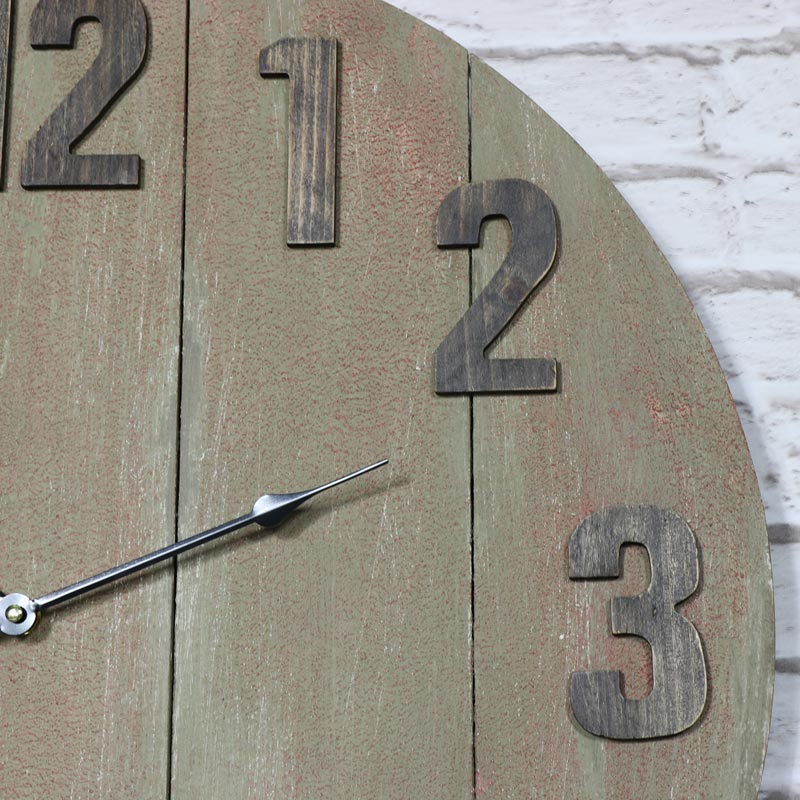 Large Wooden Industrial Style Wall Clock