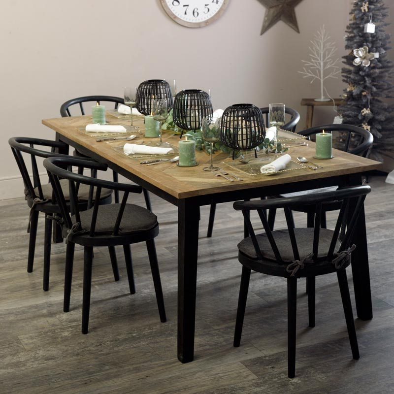 Large Wooden Nordic Dining Table 6 Black Dining Chairs