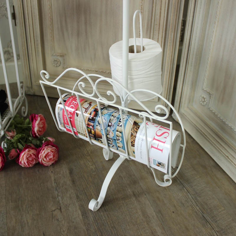 'Le Bain' Ivory Metal Toilet Roll/Magazine Holder