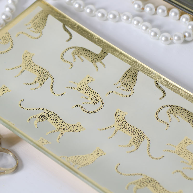 Leopard Print Glass Trinket Tray