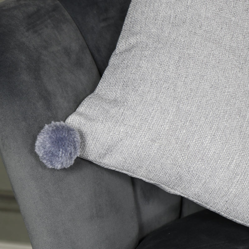 Light Grey Pom Pom Scatter Cushion