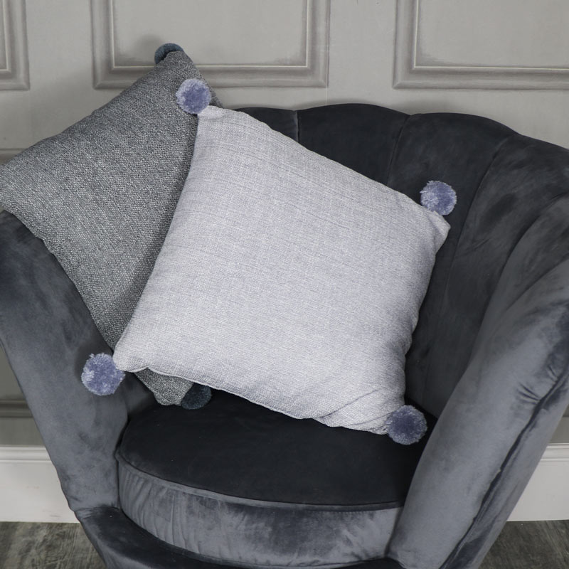 Light Grey Pom Pom Scatter Cushion