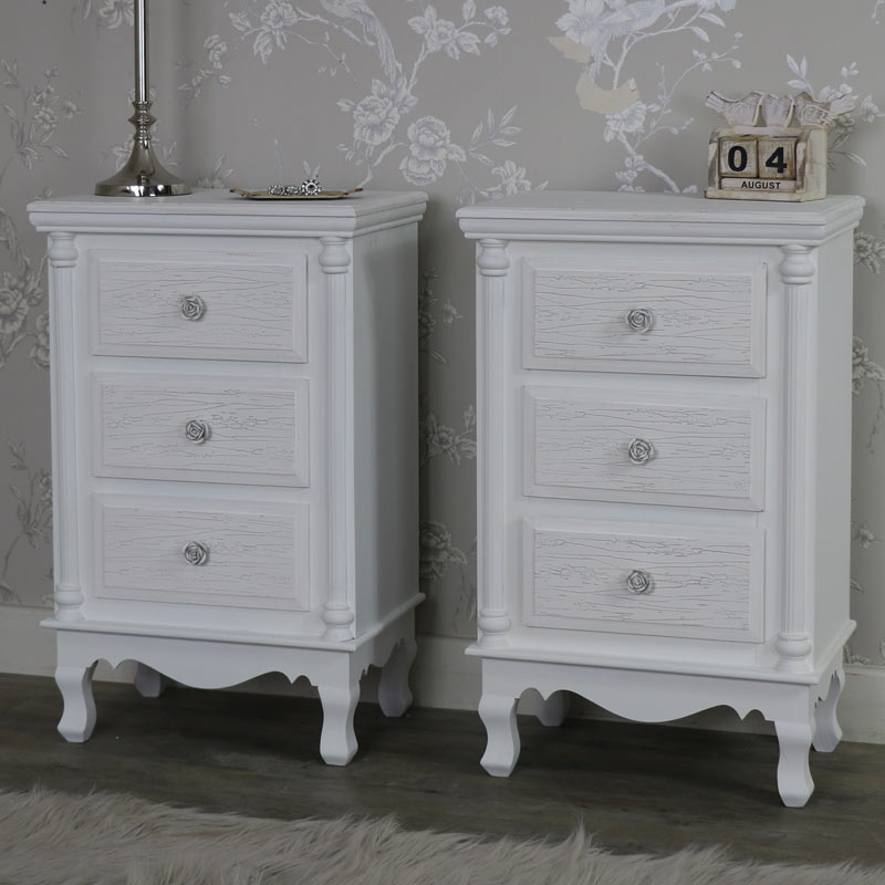 pair white set bedside table cabinet chest shabby vintage chic bedroom furniture : set of bedside tables - pezcame.com