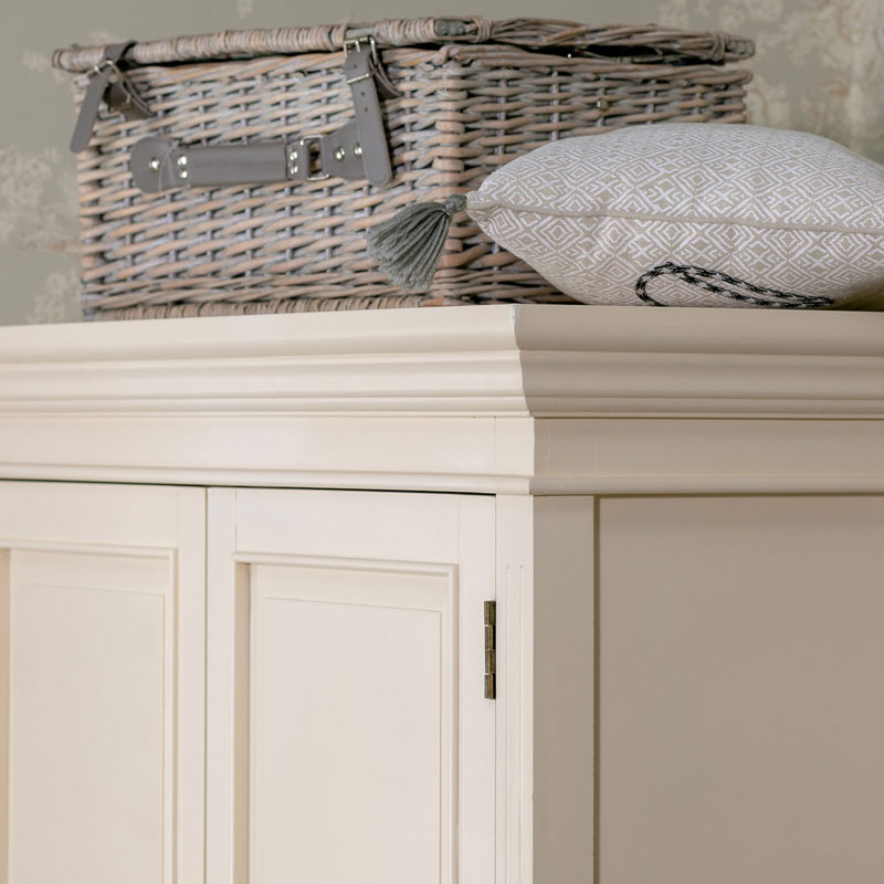 Linen Closet/Low Wardrobe Storage Cabinet - Daventry Cream Range