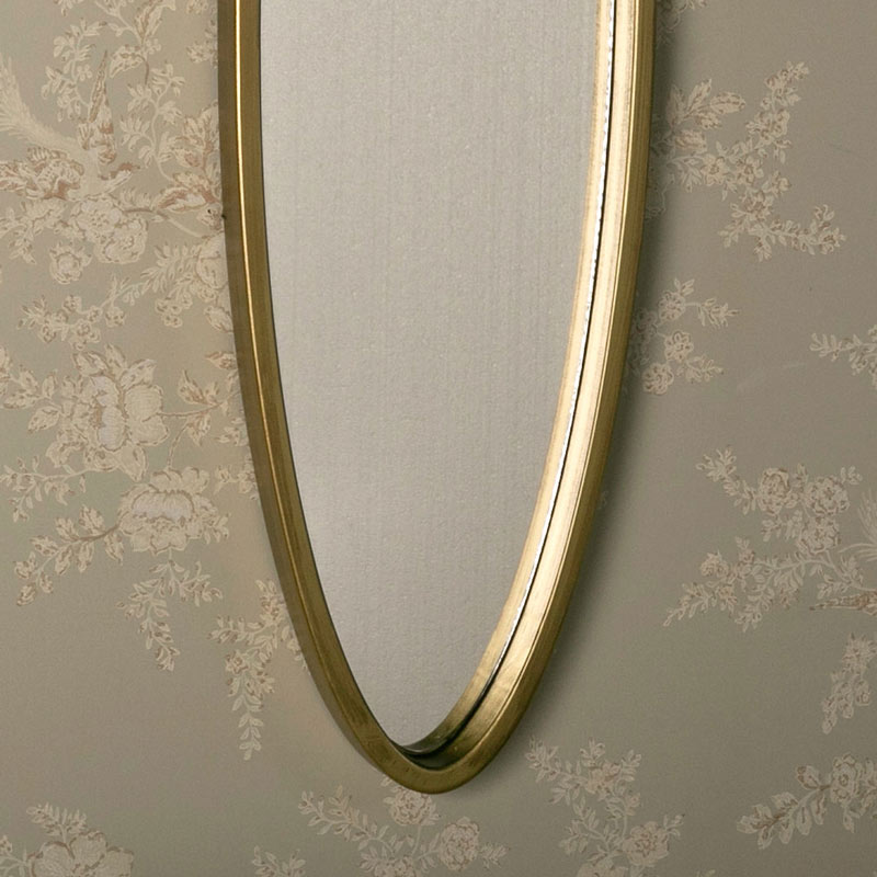 Long Gold Oval Wall Mirror 25cm x 90cm