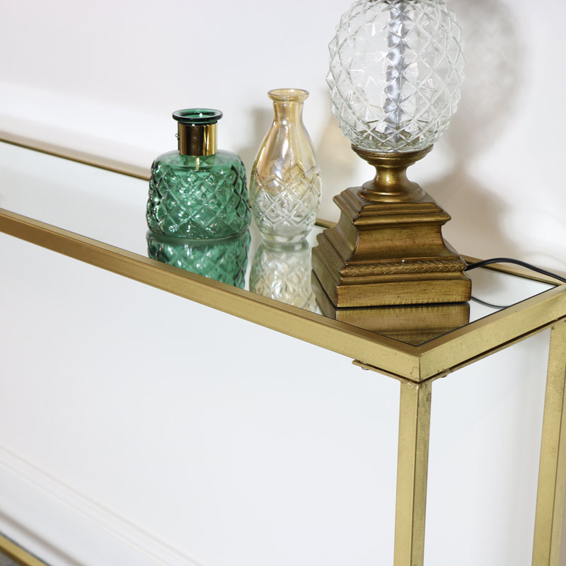Long Mirrored Top Gold Console Table