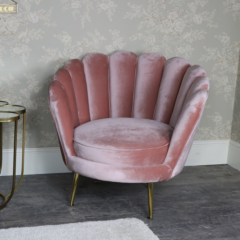 Beautiful Rose Pink Velvet Armchair ...