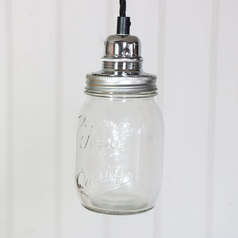 Mason Jar Pendant Ceiling Light Fitting