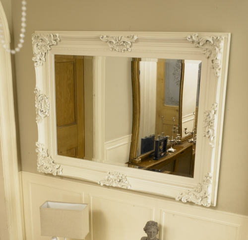 Large ivory ornate framed mirror bathroom kitchen wall for Large mirrors for bathroom walls