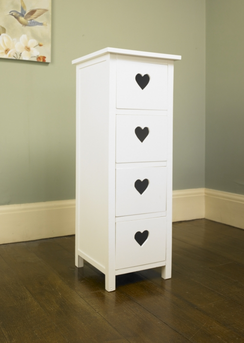 White Heart 4 Drawer Tall Boy Shabby Chest Of Drawers Draws Bedroom Furniture
