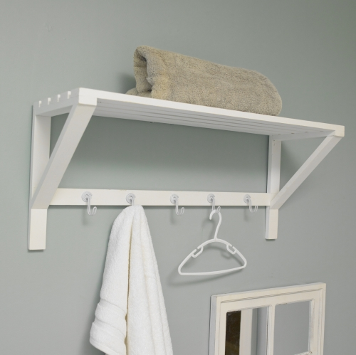 white wall shelf with hooks bathroom storage towel rail. Black Bedroom Furniture Sets. Home Design Ideas