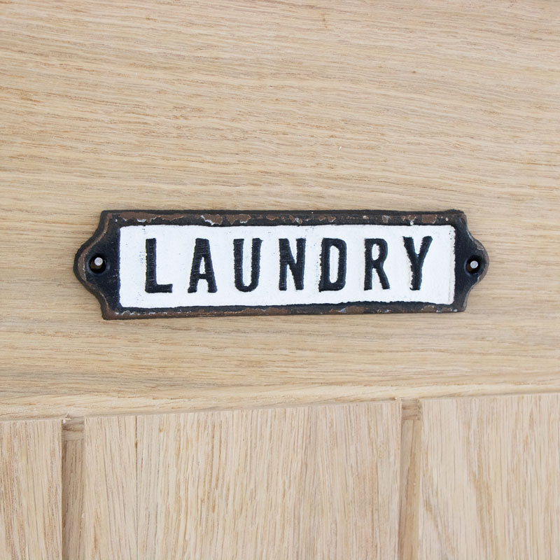 Metal Laundry Door Plaque