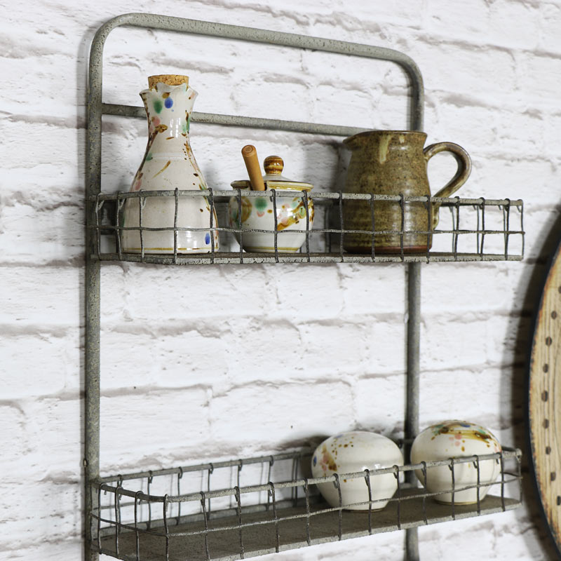 metal wall mounted double basket shelf with rail melody maison. Black Bedroom Furniture Sets. Home Design Ideas