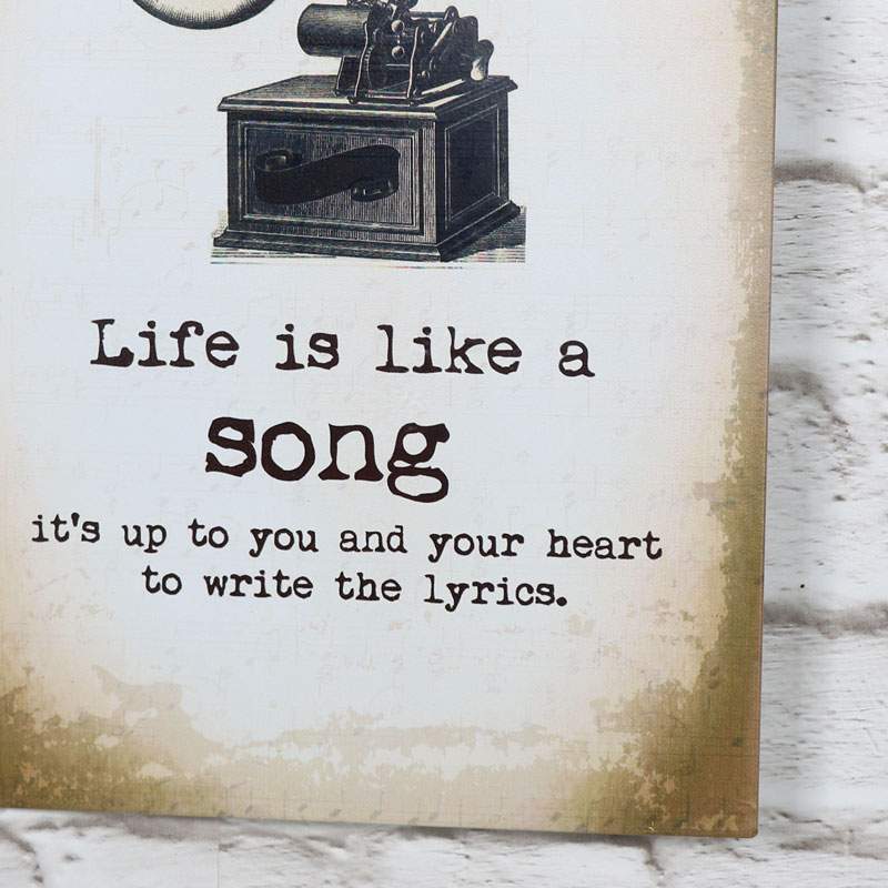 """Metal Wall Plaque """"Life Is Like A Song"""""""
