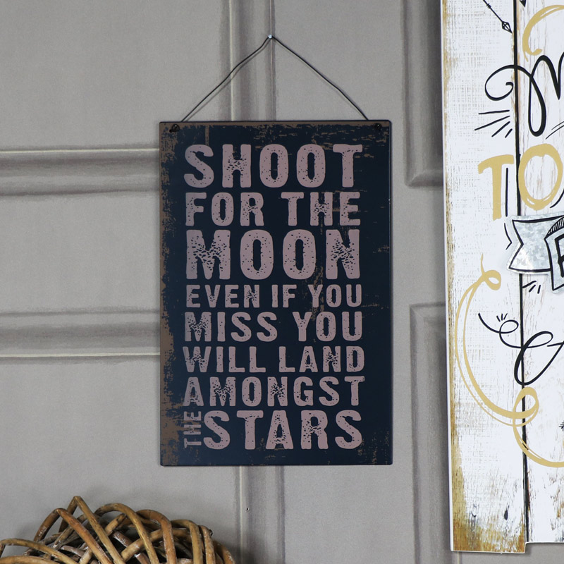 Metal Wall Plaque 'Shoot for the Moon......'